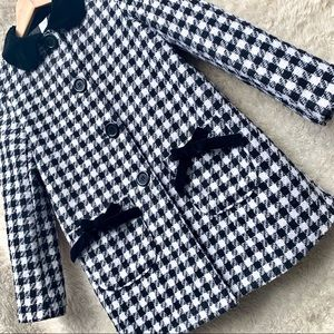 💝 Houndstooth Print Fully Lined Coat Girls 10/12